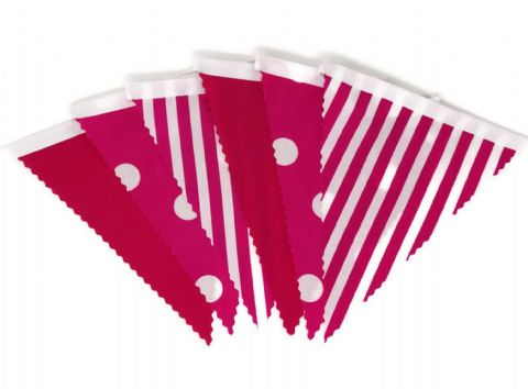 BUNTING Pink - Plain, Spot and Stripe - 3m